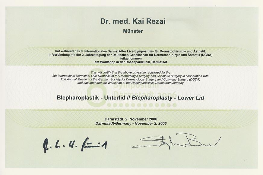 Unterlid Blepahroplastik Zertifikat