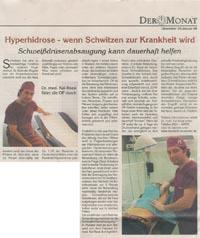 Schweißdrüsenabsaugung Dr. Kai Rezai in Der Monat Münster