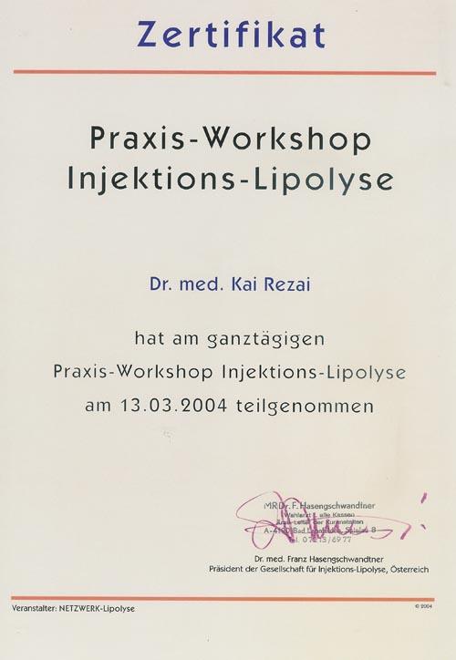 Mitglied der deutschen Gesellschaft für Lipolyse; Dr. med. Kai Rezai